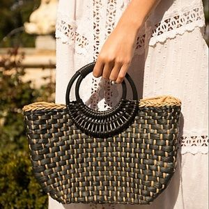 Straw Free People The Sofia Tote Basket Bag Black